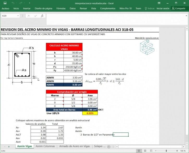 Excel para Interpretación de resultados CSI Sap2000 y ETABS