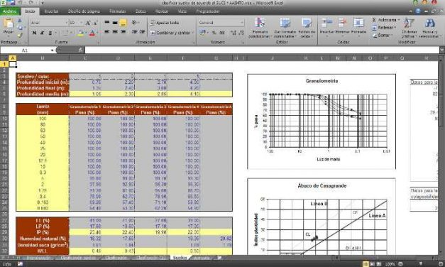 Hoja de cálculo Excel para clasificación de suelos según SUCS Y AASHTO