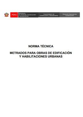 Norma Técnica Metrados Para Obras De Edificación y Habilitaciones Urbanas – Perú
